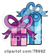 Royalty Free RF Clipart Illustration Of Blue Pink And Purple Presents