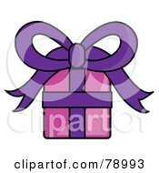 Royalty Free RF Clipart Illustration Of A Pink And Purple Wrapped Birthday Gift