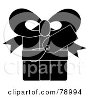 Royalty Free RF Clipart Illustration Of A Blank Gift Tag On A Black Present With White Lines