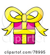 Royalty Free RF Clipart Illustration Of A Pink And Yellow Wrapped Birthday Gift