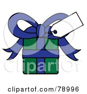 Royalty Free RF Clipart Illustration Of A Blank White Gift Tag On A Blue And Green Present