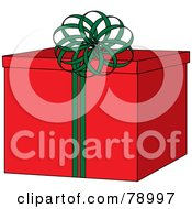 Royalty Free RF Clipart Illustration Of A Bright Red Gift Box With A Round Green Ribbon Bow