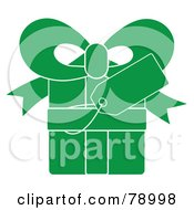 Royalty Free RF Clipart Illustration Of A Blank Gift Tag On A Green Present With White Lines