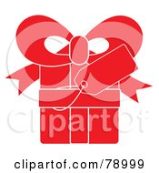Royalty Free RF Clipart Illustration Of A Blank Gift Tag On A Red Present With White Lines