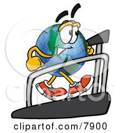 Clipart Picture Of A World Earth Globe Mascot Cartoon Character Walking On A Treadmill In A Fitness Gym by Toons4Biz