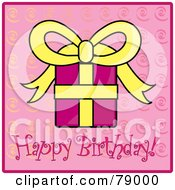 Royalty Free RF Clipart Illustration Of A Pink And Yellow Bday Present On A Pink Happy Birthday Background