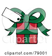Blank White Gift Tag On A Red And Green Present