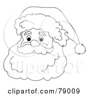 Royalty Free RF Clipart Illustration Of A Black And White Father Christmas Face With A White Beard Mustache And Santa Hat by Pams Clipart