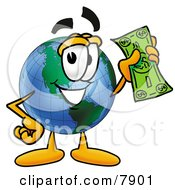 Clipart Picture Of A World Earth Globe Mascot Cartoon Character Holding A Dollar Bill by Toons4Biz