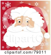 Royalty Free RF Clipart Illustration Of A Father Christmas Face With A Beard Mustache And Santa Hat Over A Gradient Red Snowflake Background by Pams Clipart