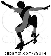 Royalty Free RF Clipart Illustration Of A Black Silhouetted Skater Catching Air by Pams Clipart