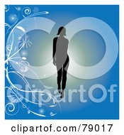 Royalty Free RF Clipart Illustration Of A Silhouetted Model Walking On A Runway Over A Blue Floral Background