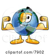 Clipart Picture Of A World Earth Globe Mascot Cartoon Character Flexing His Arm Muscles by Toons4Biz