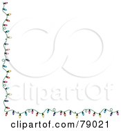 Royalty Free RF Clipart Illustration Of A White Background With A Left And Bottom Border Of Colorful Christmas Lights