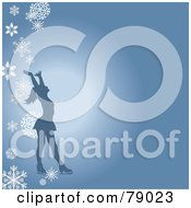 Royalty Free RF Clipart Illustration Of A Silhouetted Female Figure Skater Holding Her Arms Up On A Blue Background With Falling Snowflakes by Pams Clipart