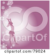 Royalty Free RF Clipart Illustration Of A Silhouetted Female Figure Skater Holding Her Arms Up On A Pink Background With Falling Snowflakes by Pams Clipart