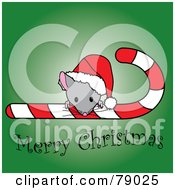 Royalty Free RF Clipart Illustration Of A Merry Christmas Mouse Looking Over A Candy Cane And Wearing A Santa Hat by Pams Clipart