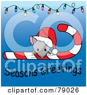 Royalty Free RF Clipart Illustration Of A Seasons Greetings Christmas Mouse Looking Over A Candy Cane And Wearing A Santa Hat With Christmas Lights