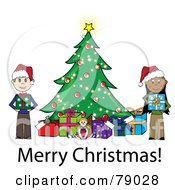 Royalty Free RF Clipart Illustration Of A Merry Christmas Stick Boy And Girl Holding Presents Beside A Christmas Tree