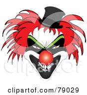 Scary Red Haired Clown With A Red Nose And Evil Expression