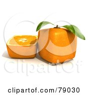 Royalty Free RF Clipart Illustration Of A Slice Resting Beside A Whole 3d Genetically Modified Cubic Orange Version 2