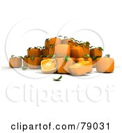 Royalty Free RF Clipart Illustration Of Whole And Sliced 3d Genetically Modified Cubic Oranges Version 12