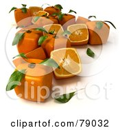 Royalty Free RF Clipart Illustration Of Whole And Sliced 3d Genetically Modified Cubic Oranges Version 1