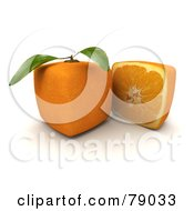 Royalty Free RF Clipart Illustration Of A Slice Resting Beside A Whole 3d Genetically Modified Cubic Orange Version 1
