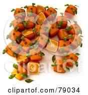 Royalty Free RF Clipart Illustration Of Whole And Sliced 3d Genetically Modified Cubic Oranges Version 10