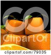 Royalty Free RF Clipart Illustration Of Whole And Sliced 3d Genetically Modified Cubic Oranges Version 9