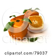 Royalty Free RF Clipart Illustration Of Whole And Sliced 3d Genetically Modified Cubic Oranges Version 5