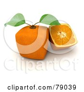 Royalty Free RF Clipart Illustration Of A Slice Resting Beside A Whole 3d Genetically Modified Cubic Orange Version 5