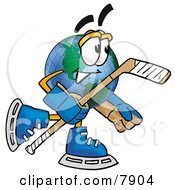 Clipart Picture Of A World Earth Globe Mascot Cartoon Character Playing Ice Hockey by Toons4Biz