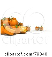 Royalty Free RF Clipart Illustration Of Whole And Sliced 3d Genetically Modified Cubic Oranges Version 8