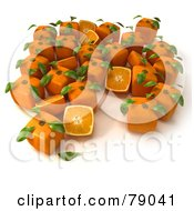 Royalty Free RF Clipart Illustration Of Whole And Sliced 3d Genetically Modified Cubic Oranges Version 11
