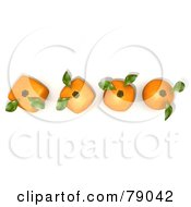 Royalty Free RF Clipart Illustration Of A Row Of 3d Oranges Evolving From Round To Genetically Modified Cubes Version 1