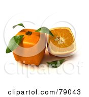 Royalty Free RF Clipart Illustration Of A Slice Resting Beside A Whole 3d Genetically Modified Cubic Orange Version 4
