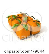 Royalty Free RF Clipart Illustration Of A Group Of 3d Genetically Modified Cubic Orange Fruits Version 3