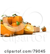 Royalty Free RF Clipart Illustration Of Whole And Sliced 3d Genetically Modified Cubic Oranges Version 2
