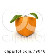 Royalty Free RF Clipart Illustration Of A Whole Cubic 3d Genetically Modified Orange Citrus Fruit