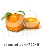 Royalty Free RF Clipart Illustration Of A Slice Resting Beside A Whole 3d Genetically Modified Cubic Orange Version 3