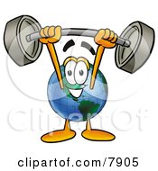 Clipart Picture Of A World Earth Globe Mascot Cartoon Character Holding A Heavy Barbell Above His Head by Toons4Biz