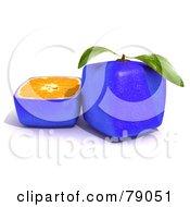 Slice Resting Beside A Whole 3d Genetically Modified Cubic Blue Citrus Fruit Orange