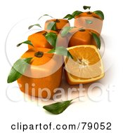 Royalty Free RF Clipart Illustration Of Whole And Sliced 3d Genetically Modified Cubic Oranges Version 6