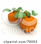 Royalty Free RF Clipart Illustration Of A Group Of 3d Genetically Modified Cubic Orange Fruits Version 1