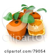 Royalty Free RF Clipart Illustration Of Whole And Sliced 3d Genetically Modified Cubic Oranges Version 3