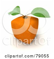 Royalty Free RF Clipart Illustration Of A Whole Cubic 3d Genetically Modified Orange Citrus Fruit Version 2