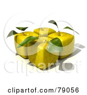 Royalty Free RF Clipart Illustration Of Four 3d Golden Delicious Cubic Genetically Modified Apples With Leaves Version 2