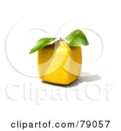 Royalty Free RF Clipart Illustration Of A Whole Cubic 3d Genetically Modified Lemon Citrus Fruit Version 1