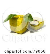 Royalty Free RF Clipart Illustration Of A Slice Resting Beside A Whole 3d Genetically Modified Cubic Golden Delicious Apple